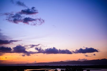 beautiful sunset overlooking the lake