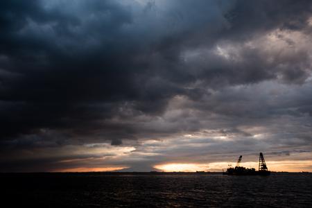 Sunset at Manila Bay, Philippines. Stock Photo