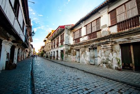 Historic street of Calle Crisologo, Vigan, Ilocos Sur, Philippines.