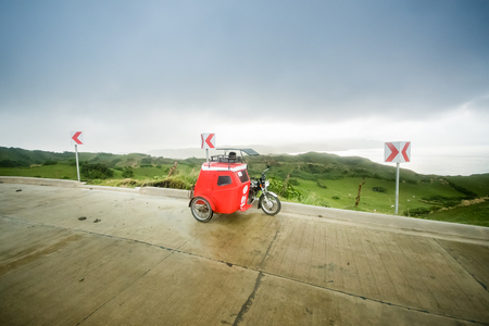 Tricycle as mode of transportation at Batanes, Philippines. Standard-Bild