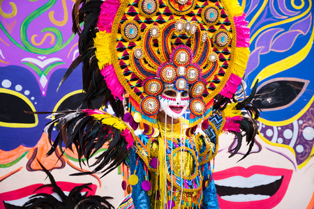 Parade of colorful smiling mask at 2018 Masskara Festival, Bacolod City, Philippines.