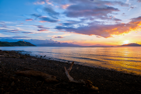 Scenic sunset at the shore of Batangas, Philippines. Stok Fotoğraf