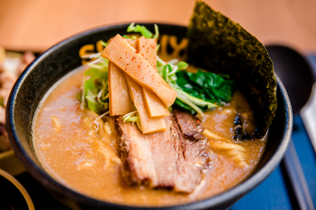 Mouth watering japanese ramen served hot. Stok Fotoğraf