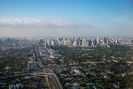Aerial view of Makati City, Philippines from a window seat.