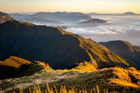 Scenic view of the sea of clouds at the summit of  Mount Pulag National Park, Benguet, Philippines. 版權商用圖片