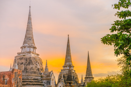 Wat Phra Si Sanphet at sunset, Ayutthaya, Thailand, Southeast Asia photo