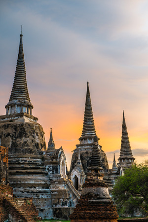 southeast asia: Wat Phra Si Sanphet at sunset, Ayutthaya, Thailand, Southeast Asia
