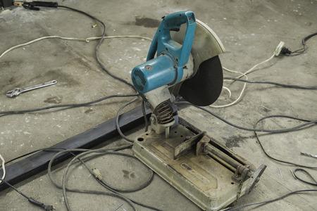 cutoff: Cut-off Machine in Construction Site Stock Photo