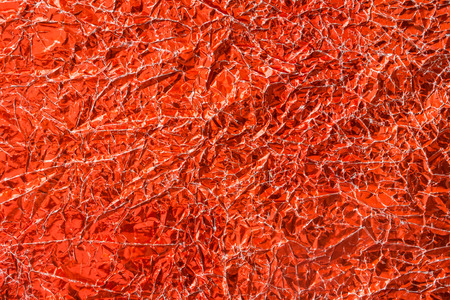 irradiation: Red shiny wrinkle foil paper, christmas background