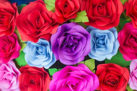 fake newspaper: Handmade rose paper backgrounds,Paper flower backdrop wedding wallpaper Stock Photo