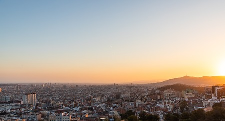 Views of the city of Barcelona during sunset with copy space Stockfoto