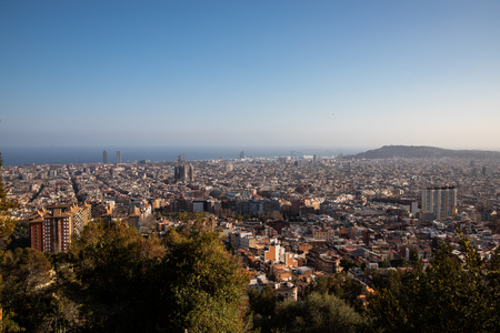 Views of the city of Barcelona and the Mediterranean sea with copy space