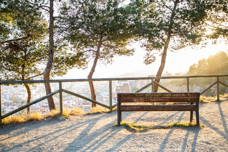 Bench and trees with views at the city over Barcelona during sunset and sun rays