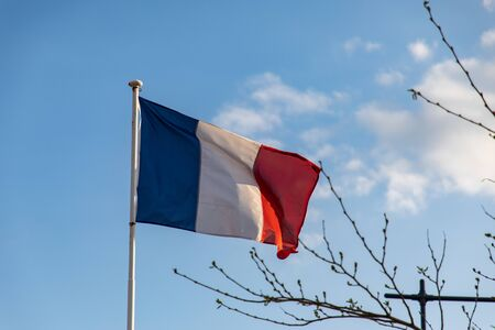 French flag waving on the wind
