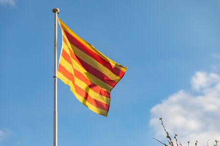 Catalan flag waving on the wind (senyera)