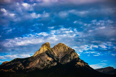 Pedraforca mont on cloudy day with high contrast colors in the morning (SPAIN) Reklamní fotografie