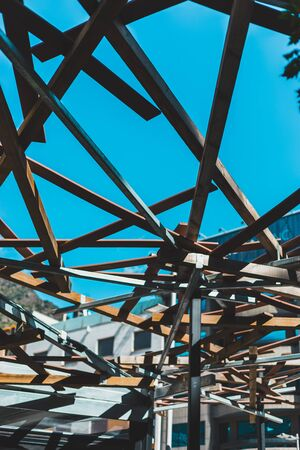 Metal structure with blue background