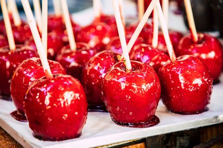 Closeup of shinny red candy apples Reklamní fotografie