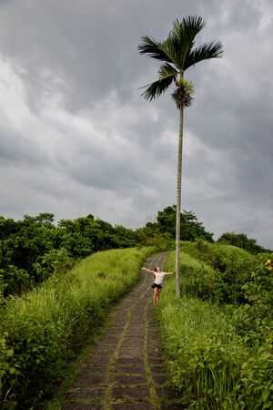 Beautiful woman hiking on famous tiles path surrounded by rice fields and a palm in Bali (Indonesia) with copy space