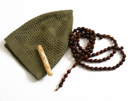 skullcap: materials used in prayer in Islam skullcap, misvak and rosary