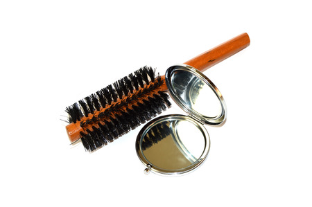 wire comb and mirror Stock Photo