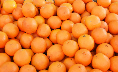 oranges sold in grocery aisles