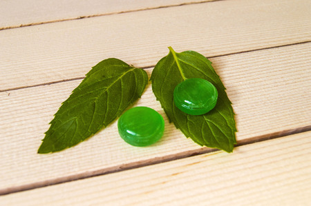 minted: for cooling mint-flavored sugar, sugar minted for nausea, green mint Stock Photo
