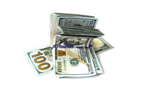 a wad of dollars, Consisting of $ 100 wad of money Stock Photo