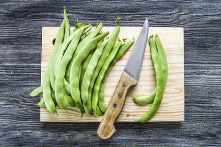 rejected: Green bean sample on white background, green bean pictures Stock Photo