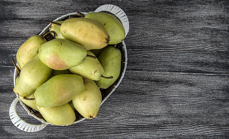 water mill: Mature pear pictures in the basket, natural and organic santa maria pear fruit pictures, Wonderful pear pictures in a fruit basket Stock Photo