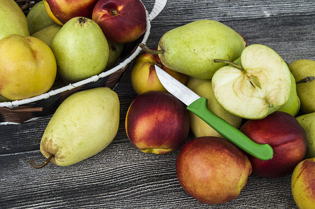 Pear and nectarine fruits from the fruit tree, pear and nectarine