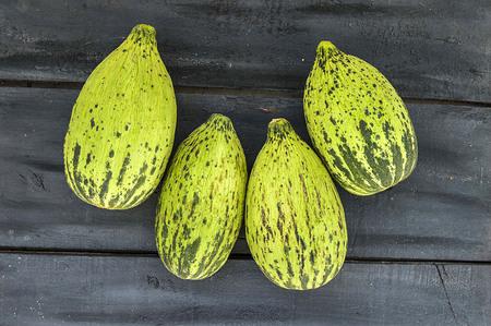 Volle unreife kleine Melonen, rohe Melonenbilder, schneiden eine kleine Melone mit einem Messer, essen eine unreife Melone, unreife kleine Melonen, Standard-Bild - 86693872
