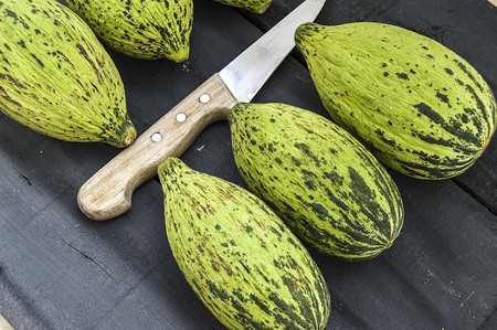 cut a small melon with a knife, eat an immature melon, immature small melons,