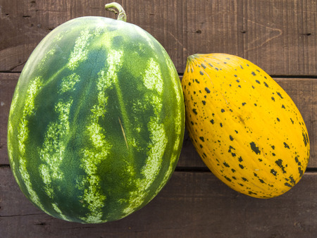 melon and watermelon stand side by side