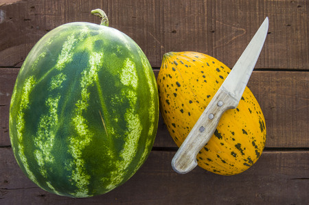 melon watermelon and knife