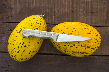 natural melon and knife pictures Stock Photo