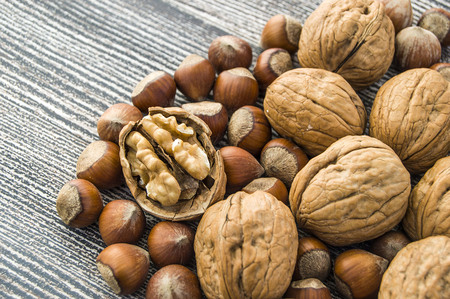 standing side by side in separate plate of shelled hazelnuts and shelled walnuts pictures Stock Photo