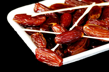 a pack of dates, close-up Stock Photo