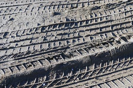 car tire tracks on the mud Stok Fotoğraf