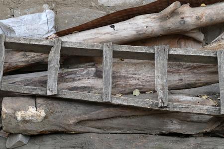 deformed old worn wooden planks, 写真素材