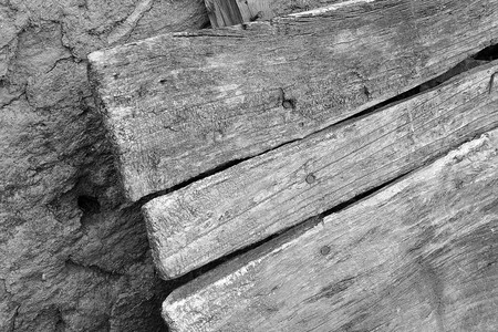 deformed old worn wooden planks 写真素材