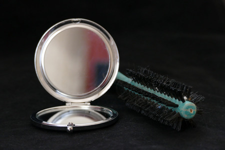 close-up of a mirror on a black background 写真素材