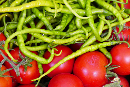 fresh tomatoes and thin green peppers