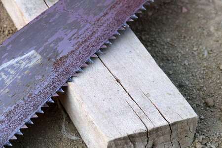 metal saw, close-up, manual saws from construction vehicles Banco de Imagens - 115854063