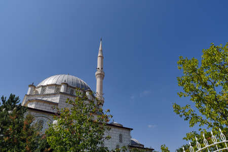 blue sky domes and minarets, mosques in turkey, trees and minaret of a mosque.