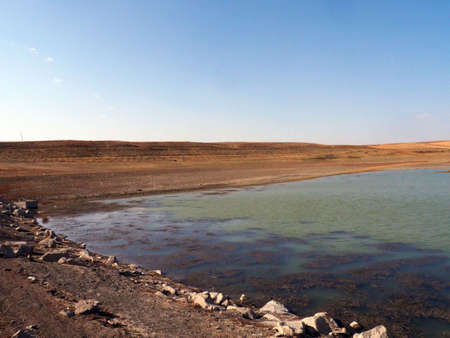 lakes with reduced water levels in summer, global warming and drought, 写真素材