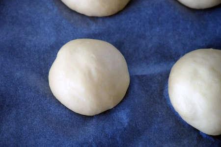 Knead the dough at home, close-up of fresh pie dough kneaded,