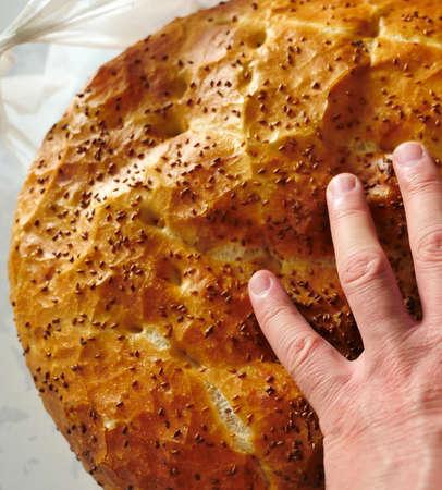 Fresh Turkish pita, fasting and pita bread for iftar,