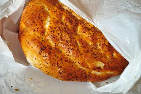 Ramadan pita with fresh and hot sesame, fresh Turkish pita,