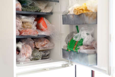 close-up frozen food home, frozen vegetable and food stocks, Stock fotó